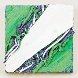 White Crease/Grassy Field, 8 x 8 x 1 in, oil on panel, 2015