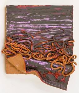 Big Brown Peel/Purple Scrapes, 13 x 11.5 x 2 in, oil on panel, 2015