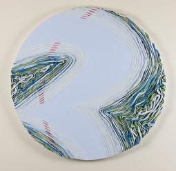Cold Sweat, 24 x 24 x .65 in., oil on circular panel, 2016