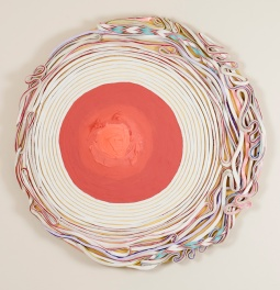 Curved Spiral (Orange Eye), 24.5 x 24.5 in. circle, sculpted acrylic on panel, 2017