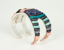 Betty's Backbend Cuff Bracelet; 3 x 1.5 x 2.15 in.; sterling silver, pink opal, hematite, rainbow obsidian, sodalite, chrysocolla, lepidolite, and amazonite; 2020