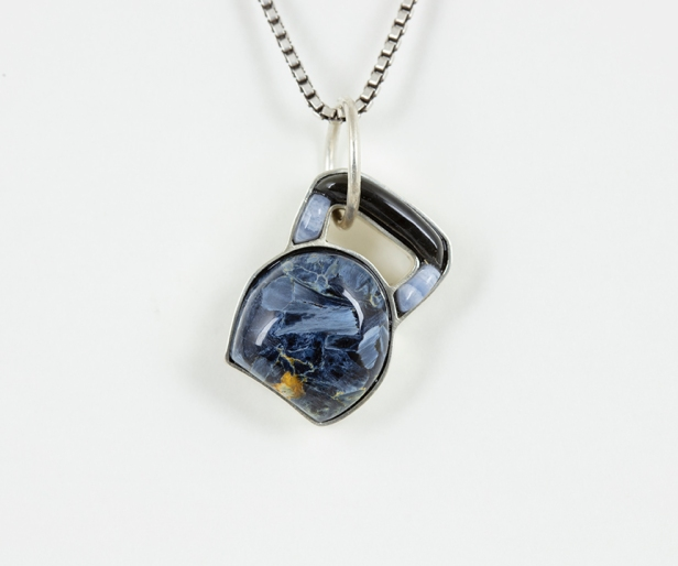 Kettle Bell 1, 1 x 0.75 x 0.3 in., sterling silver pendant with pietersite, blue lace agate, and obsidian, 2020