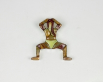 Boom Shaka-laka (Squat Pose), 2 x 2.1 x 0.35 in., 13.4 g sterling silver pendant with 18 pieces of Gary Green petrified wood, serpentine, and red jasper, 2020